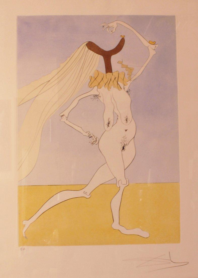 """Salvador Dali hand Signed """"Nue aux Voilettes"""""""