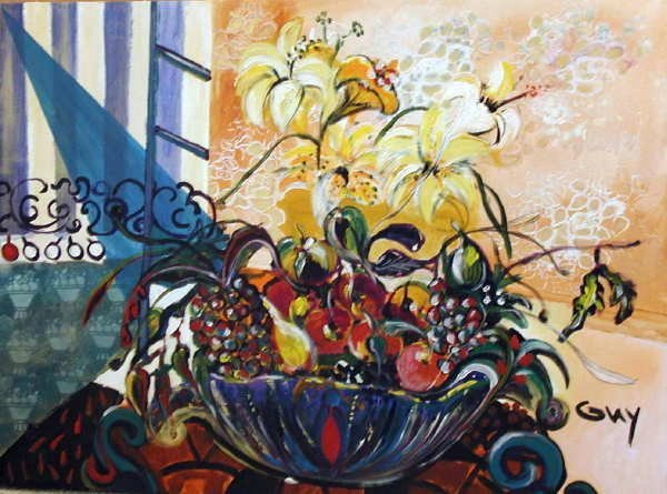 121: Bracha Guy, The Fruit Bowl, Signed Oil on Canvas