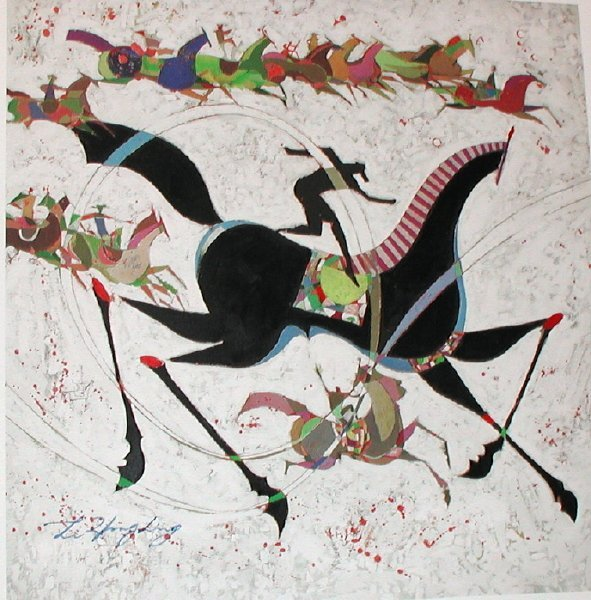 181: Li Zhong-Liang, Classic Horse, Signed Canvas Gicle
