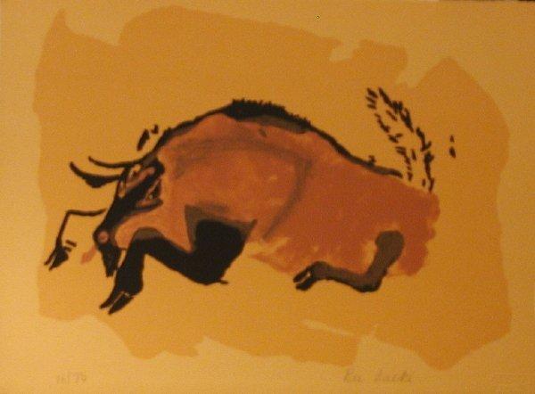 1069: Rei Saeki, Primitive Bull, Signed Lithograph