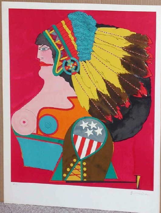 303: Richard Lindner, Miss American Indian, Signed Lith