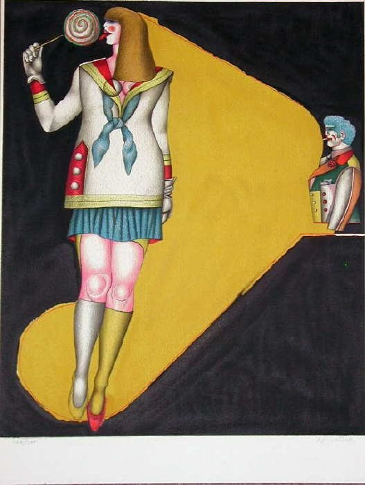 303A: Richard Lindner, Lollipop, Signed Lithograph