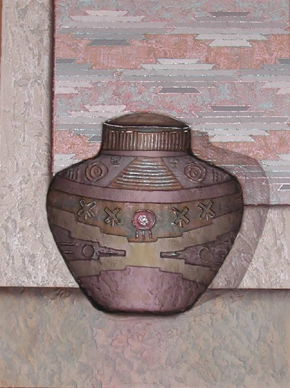 307: Luis Mazorra, Old Mexican Jar, Embossed Etching