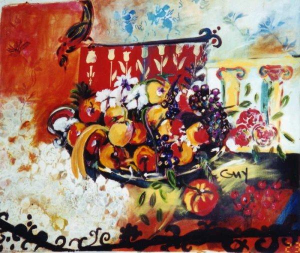 541: Bracha Guy, Cherries, Signed Oil on Canvas