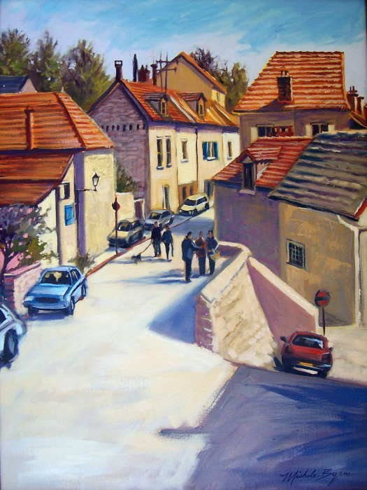 753B:  Michele Byrne, Sunlit Day in Auvers, Oil on Canv