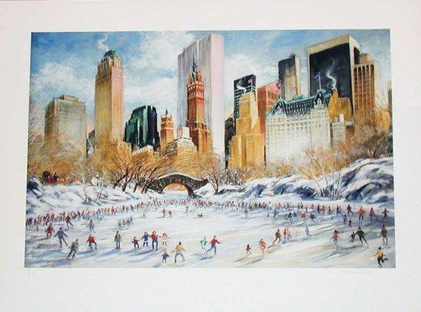 756:  Kamil Kubik, Skating in Central Park, Signed Prin