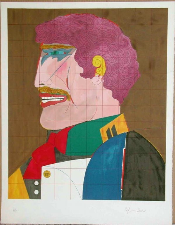 887:  Richard Lindner, Profile, Signed Lithograph