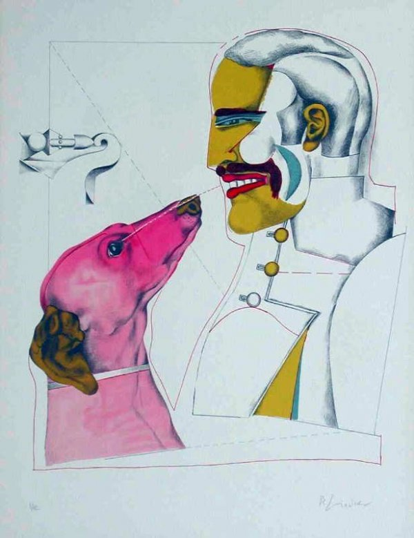 964: Richard Lindner, Mans Best Friend, Signed Litho