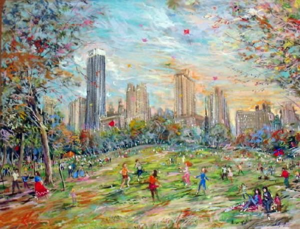 113A: Kamil Kubik, The Sheep Meadow, Signed Pastel