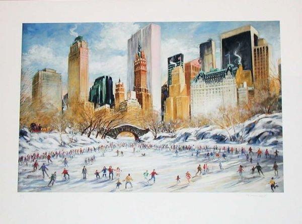 510A: Kamil Kubik, Skating in Central Park, Signed Prin
