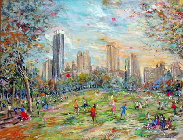 761A: Kamil Kubik, The Sheep Meadow, Signed Pastel