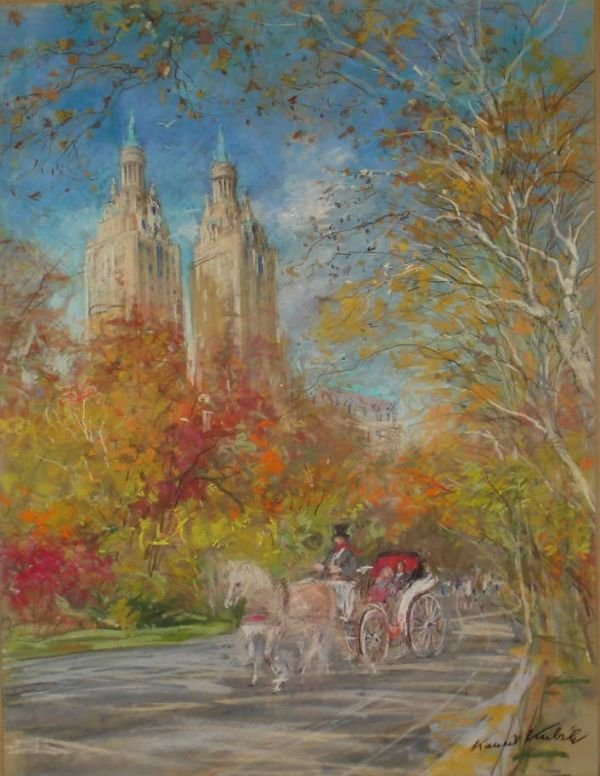 107A: Kamil Kubik, Central Park West, Signed Pastel