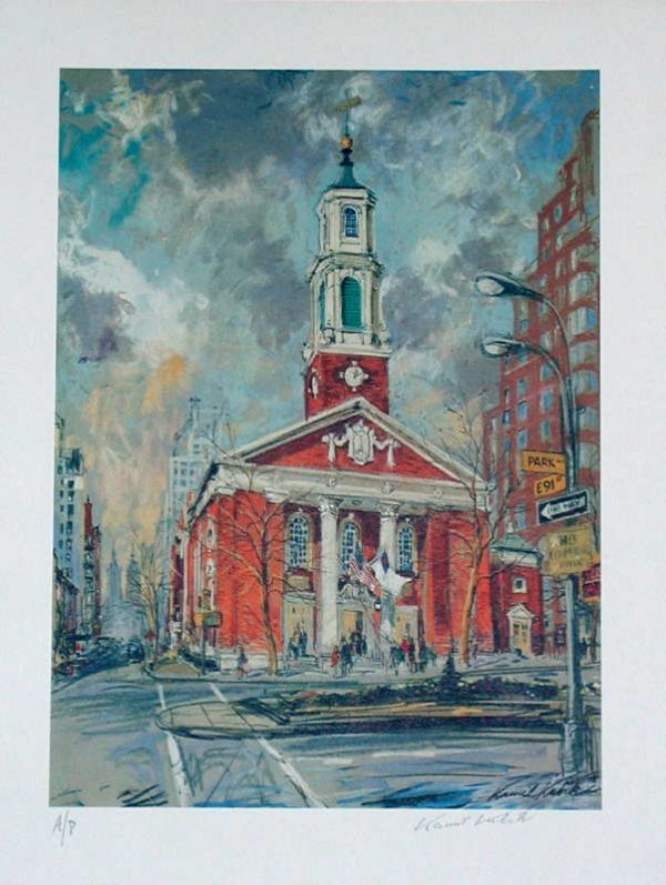 766B: Kamil Kubik, Brick Church, Signed Print