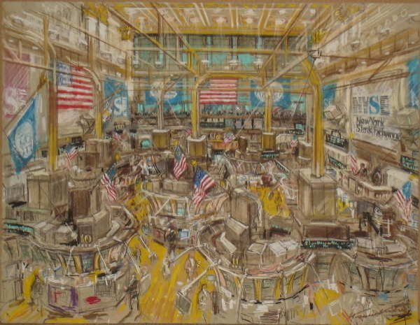 510: Kamil Kubik, Floor of  the NYSE , Signed Pastel