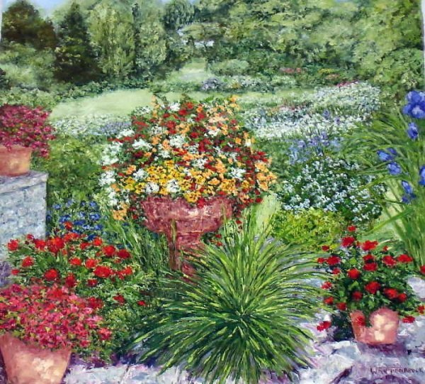 309B: Wanda Kippenbrock, Formal Garden, Oil on Canvas