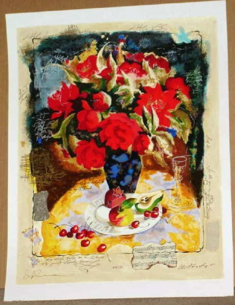315: Alexander Wissotsky, Red Bouquet, Signed Serigraph