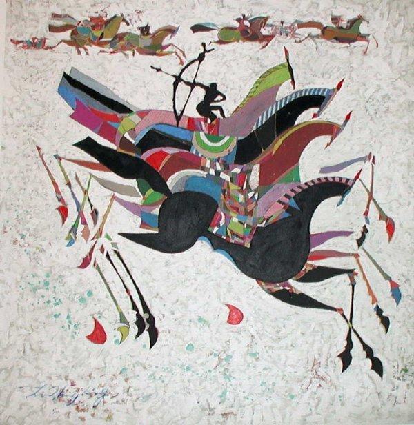 1075: Li Zhong-Liang, Horses, Signed Giclee on Canvas