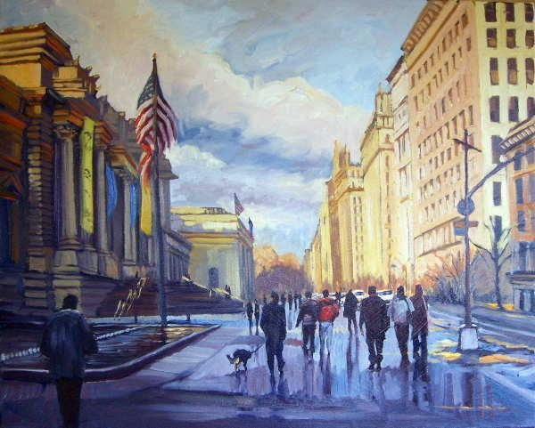 753C: Michele Byrne, Off to the Met, Oil on Canvas