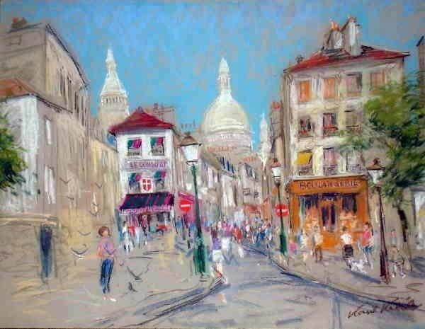 101A: Kamil Kubik, Montmartre, Signed Pastel