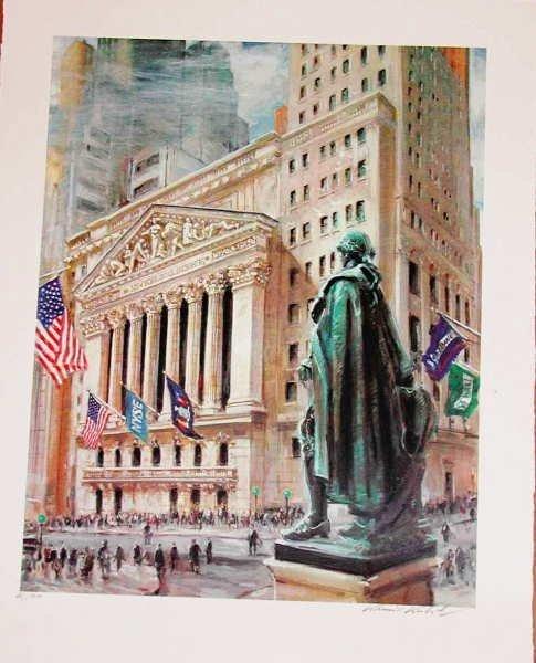 757A: Kamil Kubik, Washingtons Statue, Signed Serigraph