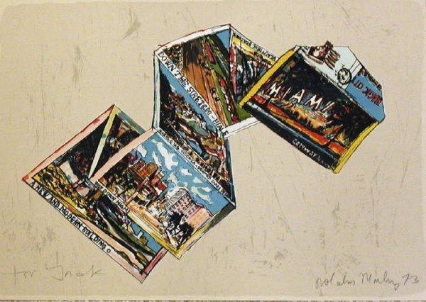 117: Malcolm Morley, Miami Postcard, Signed Lithograph