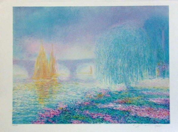 975: Claude Manoukian, Pont sur Yonnes, Signed Lithogra