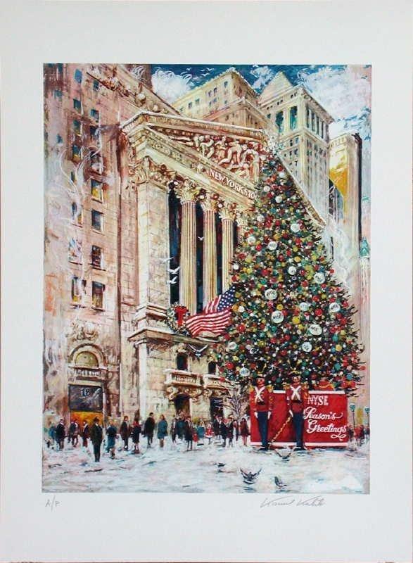 373: Kamil Kubik, NYSE at Xmas, Signed Serigraph