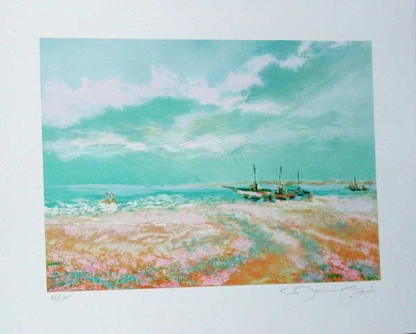319: Claude Manoukian, Les Barques, Signed Litho