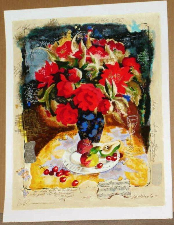 969: Alexander Wissotsky, Red Bouquet, Signed Serigraph