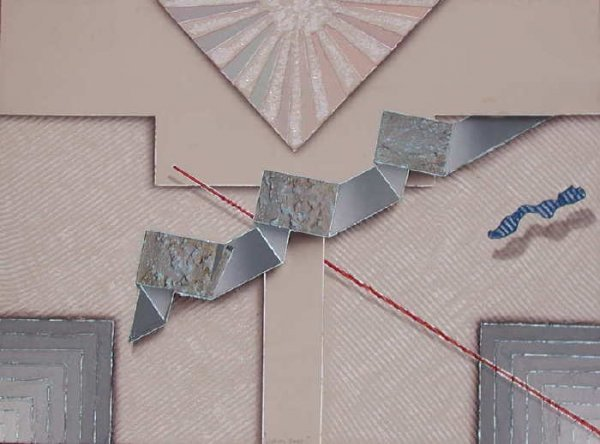 309: Luis Mazorra, Looking East, Etching with Collage