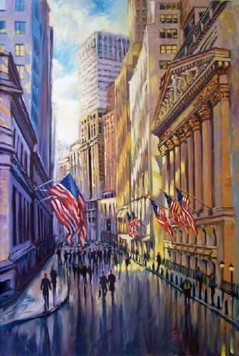 753A: Michele Byrne, Sunlight on Wall Street, Oil on Ca