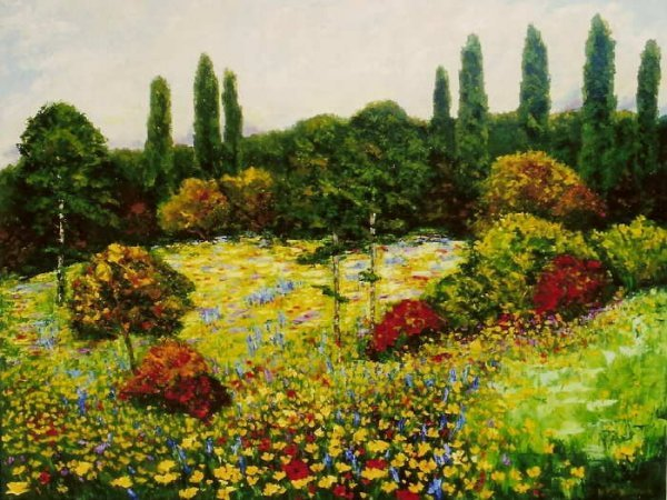 309A: Wanda Kippenbrock, Wildflower Meadow, Oil on Canv