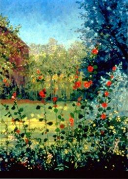 960: Anne Boysen, Holyhocks, Signed Canvas Print
