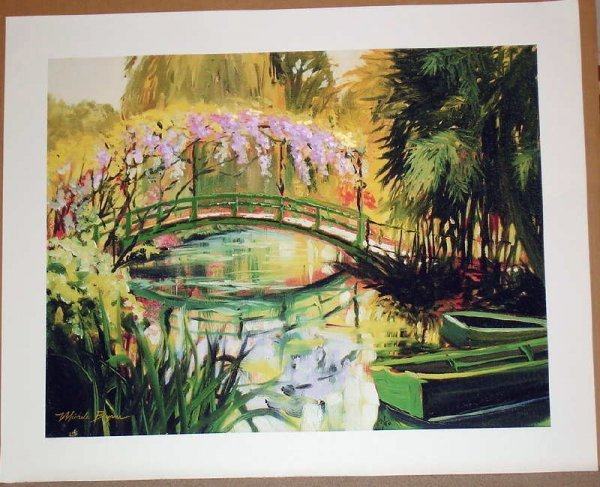 320A: Michele Byrne, Monets Bridge, Signed Canvas Print