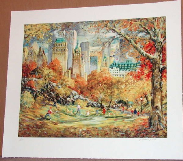 439: Kamil Kubik, Central Park Fall, Signed Serigraph