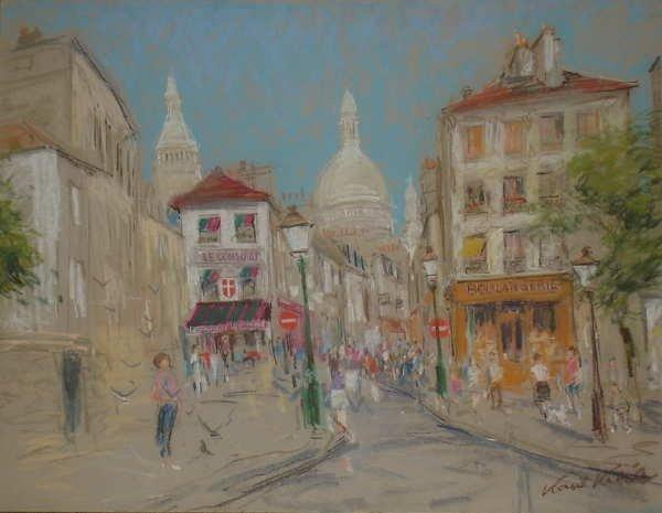 369B: Kamil Kubik, Montmartre, Signed Pastel