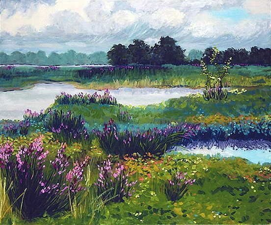 957: Anne Boysen, Magenta Loosestrife, Signed Print