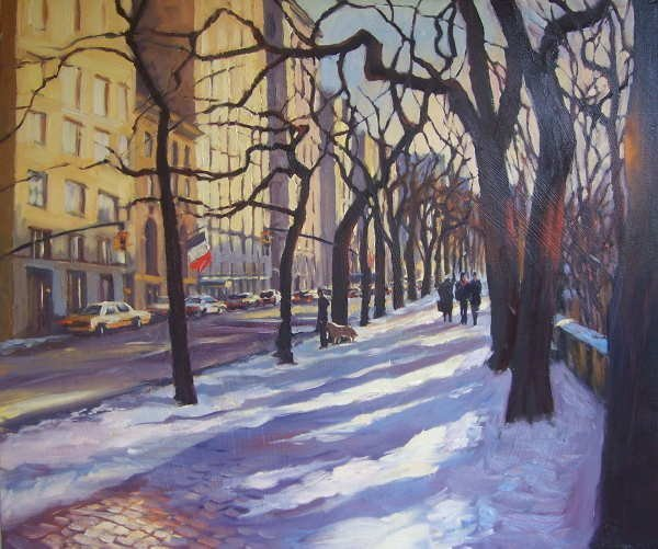 343D: Michele Byrne, Snowfall by the Park, Oil on Canva
