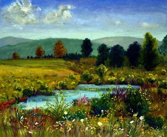 995: Anne Boysen, Pond at Herrick, Signed Canvas Print