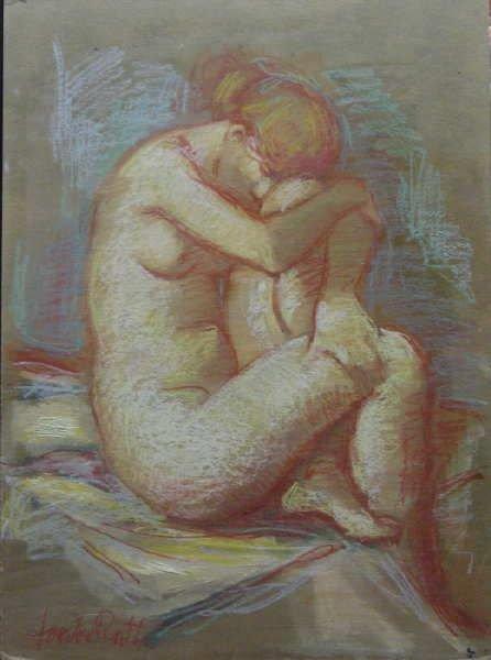 969B: Jan De Ruth, Untitled Nude, Signed Oil on Board