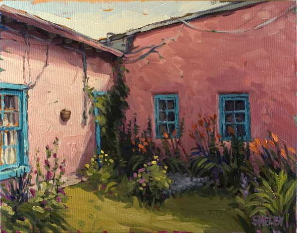 224A: Shelby Keefe,  Pink Adobe, Oil on Canvas