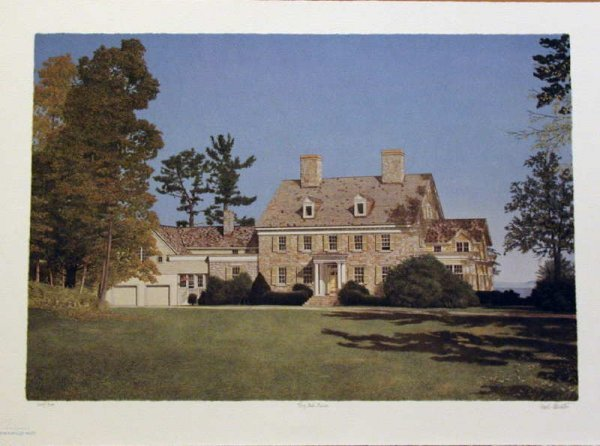 521:  Mel Hunter, Big Oak Farm, Original Signed Mezzogr