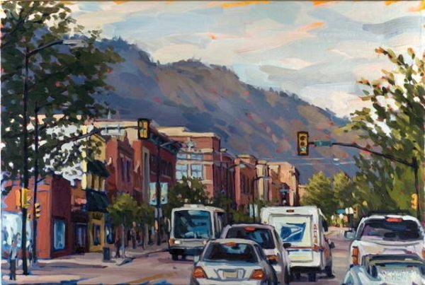 822A: Shelby Keefe, Arriving in Boulder, Oil on Canvas