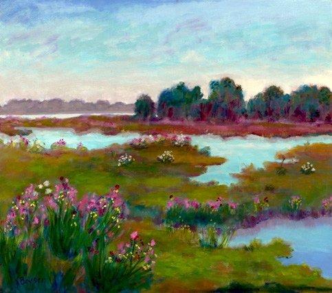 767A: Anne Boysen, Marshlife, Signed Oil on Canvas