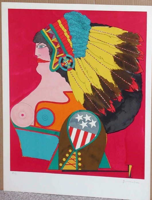 134: Richard Lindner, Miss American Indian, Signed Lith