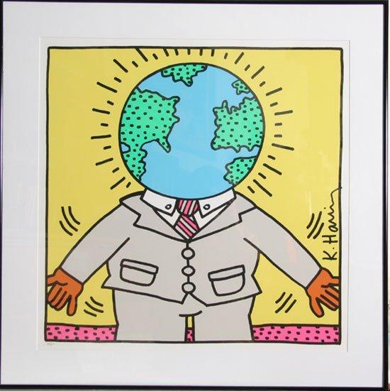968A: Keith Haring, Global Man, Signed Serigraph