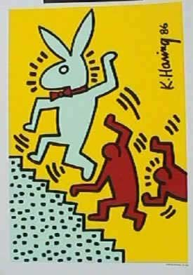 968B: Keith Haring, Bunny on the Run, Signed Serigraph