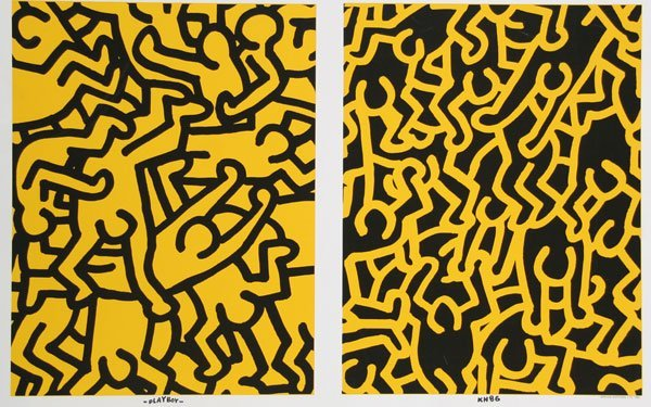 968C: Keith Haring, Diptych, Signed Serigraph