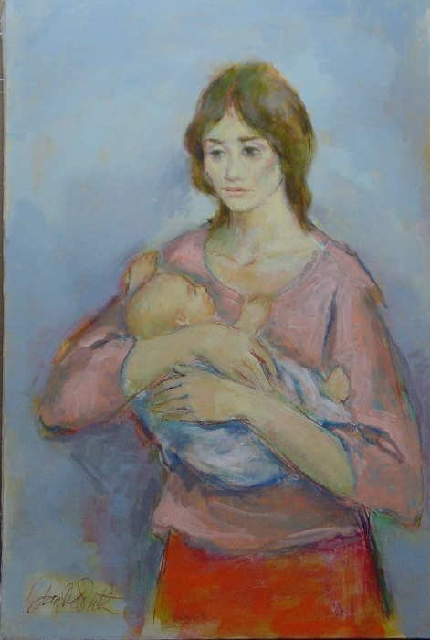 969A: Jan De Ruth, Mother & Child, Signed Oil on Canvas
