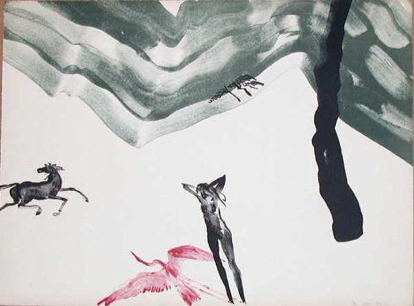 100: Mary Frank, Leda Stone Lithograph
